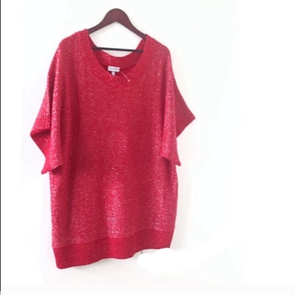 Fashion Bug Red Silver Sweater Short Dolman Sleeve